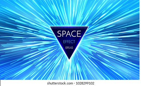 Abstract Futuristic Perspective and Motion Light Background. Star Warp in Hyperspace. Space Jump. Vector illustration