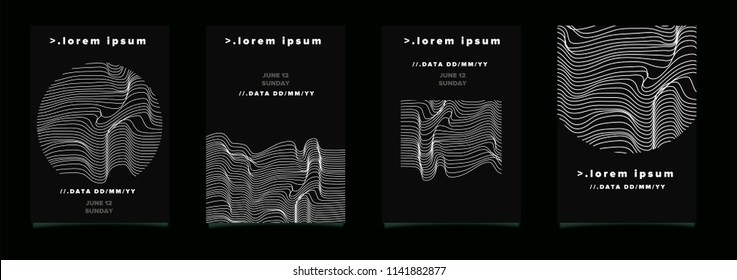 Abstract futuristic poster set for music event. Design template with glitched sound waves.