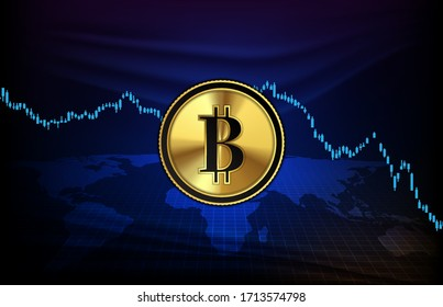 abstract futuristic technology background of bitcoin digital cryptocurrency  and market graph down