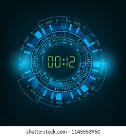 Abstract Futuristic Technology Background with Digital number timer and countdown for under construction or coming soon template vector.