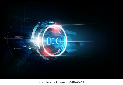 Abstract Futuristic Technology Background with Digital number timer concept and countdown, vector illustration