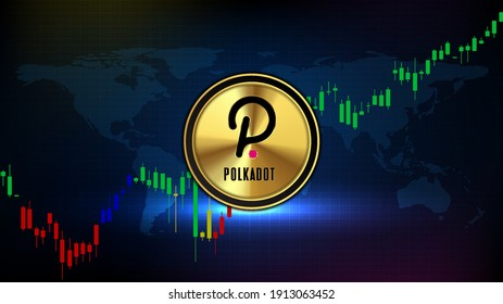 abstract futuristic technology background ofpolkadot(DOT) coin digital cryptocurrency  and market graph volume indicator