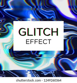 Abstract futuristic technology, dynamic liquid glitch effect. neon blue on dark background. Vector illustration