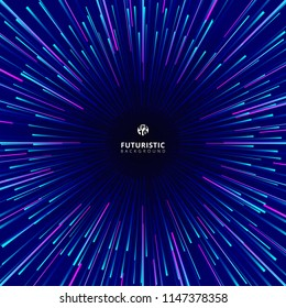 Abstract futuristic technology geometric circular geometric centric motion pattern. Radial dynamic lines ray colorful on dark background. Vector illustration