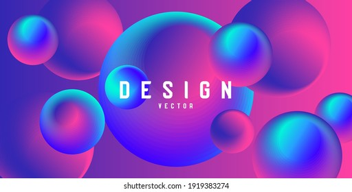 Abstract futuristic wallpaper with fluorescent 3d circles of pink and blue colors, glossy shiny shapes, modern render digital graphic