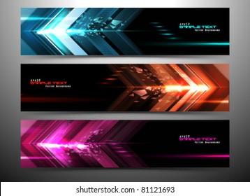 abstract futuristic website banner set vector illustration