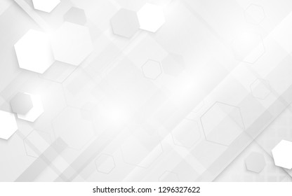 Abstract futuristic white geometric  digital technology concept background