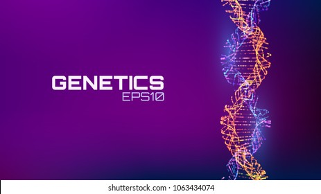 Abstract fututristic dna helix structure. Genetics biology science background. Future dna technology.
