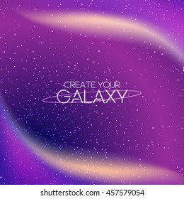 Abstract galaxy background with milky way, stardust, nebula and bright shining stars. Cosmic vector illustration