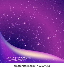 Abstract galaxy background with star constellations, milky way, stardust, nebula and bright shining stars. Cosmic design