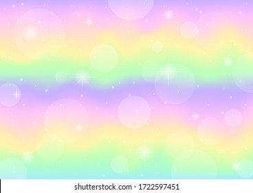 abstract galaxy fantasy unicorn. pastel sky with bokeh. rainbow background illustration vector.