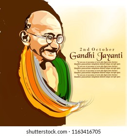 Abstract for Gandhi Jayanti is a national festival celebrated, 2nd October with  creative design illustration in background