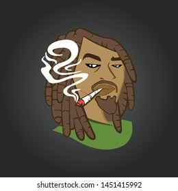 Abstract Gangsta with Cigarette face design - Illustration