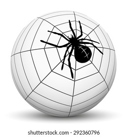 Abstract Garden Spider with Cobweb on Sphere with White Background - Vector Illustration