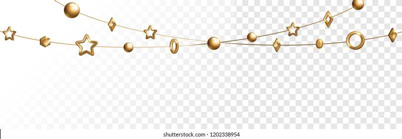 Abstract garland with gold geometric baubles overlay effect on transparent background for Christmas and New Year design. Vector Illustration.