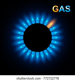 Abstract Gas burner with blue flame, vector background