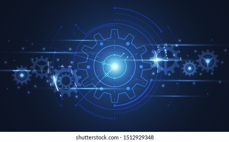 Abstract gear connecting technology of science  design background. Futuristic interface with geometric shapes. Vector illustration