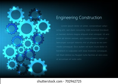 abstract gear engineering construction template design background, vector illustration