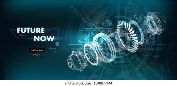 Abstract gear wheel mechanism background. Engineering drawing abstract industrial background with a cogwheels. Futuristic engineering background. 3D isometric vector illustration.