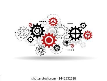 Abstract gear wheel mechanism background. Machine cog technology. Teamwork concept. Vector illustration