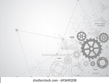 Abstract gear wheel mechanism background. Machine technology. Vector illustration