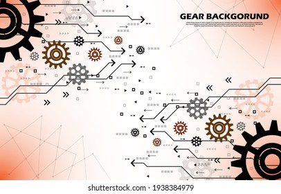 Abstract gear wheel pattern on orange technology background EP.10.Used to decorate on message boards, advertising boards, publications and other works