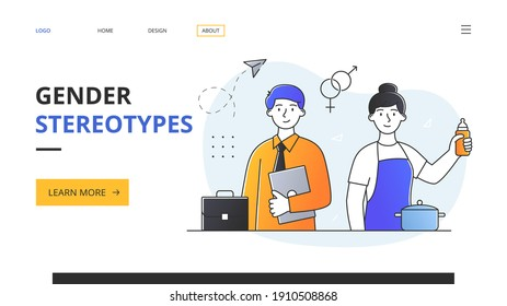 Abstract gender stereotypes concept with young male entrepreneur in business suit and girl housewife with feeding bottle. Outline flat vector illustration. Website web page landing page template