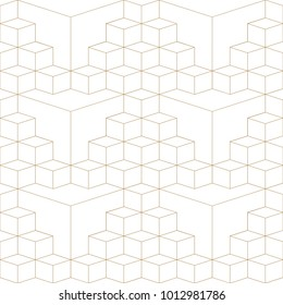 Abstract geometric 3d grid seamless pattern, gold and white texture. Thin lines cubes background. Vector wallpaper for textile printing, packaging, wrapper, web design