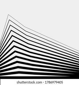 Abstract geometric architectural shape, black and white, linear, vector logo, backdrop, facade, technical, plan, building construction, contemporary, apartment, architectural drawing, residential
