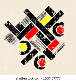 abstract geometric art in the bauhaus tradition, with grunge structure, splashes and stripes, good copy space
