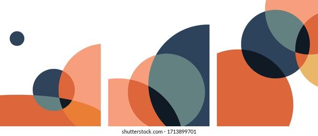 abstract geometric art circles overlapping minimalist. vector set