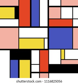 Abstract geometric art pattern - Mondrian style squares and rectangles vector.