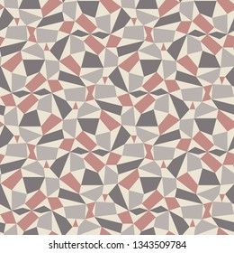 Abstract Geometric Asymmetrical Shapes. Triangles, Quadrilaterals.  Pink, Gray, Cream.  Soft, Muted Palette.  Trendy Seamless repeat vector pattern.