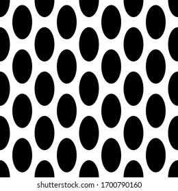 Abstract geometric background with black oval shapes. Vector seamless pattern.