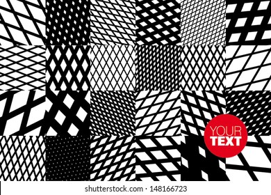abstract geometric background with black and white cross diagonal striped pattern