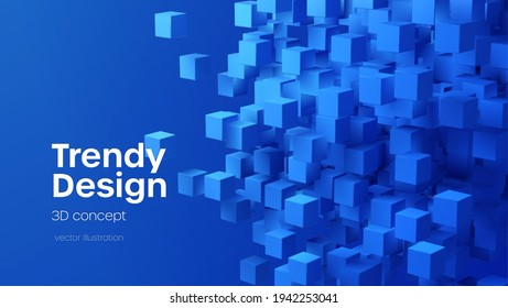 Abstract geometric background with blue 3d flying cubes. Modern abstract business template with 3d blue cube on blue background. Vector illustration EPS10
