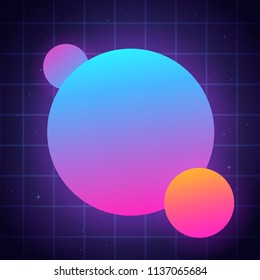 Abstract geometric background with bright shapes for copy space. 80s inspired retro futuristic design with neon gradients.