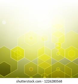 Abstract geometric background. Brochure template design. Yellow hexagonal shape