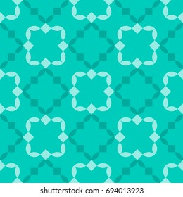 Abstract geometric background. Ceramic tile pattern in teal and light blue colors. Vector seamless repeat.
