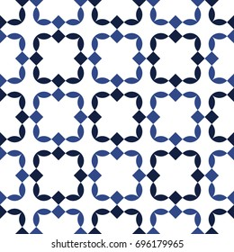 Abstract geometric background. Ceramic tile pattern in white and blue colors. Vector seamless repeat.
