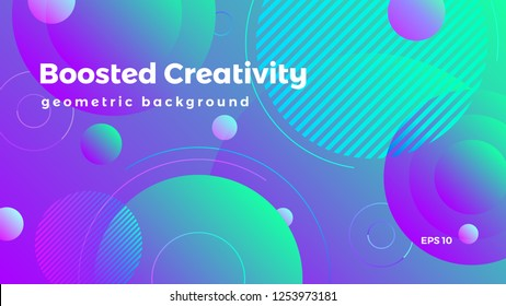 Abstract geometric background, circles graphic, colorful futuristic vector illustration