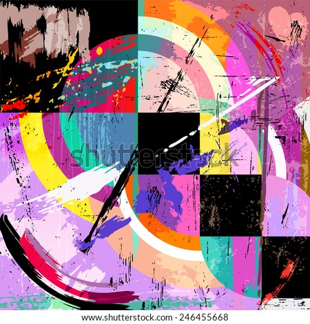 Abstract Geometric Background Circles Squares Paint Stock