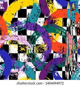 abstract geometric background composition, with paint strokes, splashes and circles, on black and white, seamless