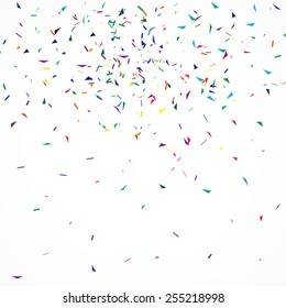 Abstract geometric background with confetti.