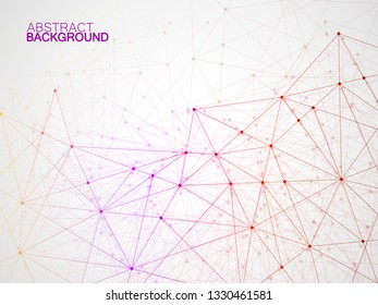 Abstract geometric background with connecting dots and lines. Modern technology concept. Colorful polygonal structure