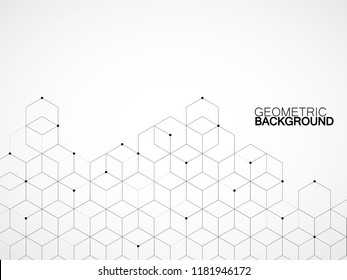 Abstract geometric background with cubes. Geometrical concept with lines and points. Vector illustration. Eps 10