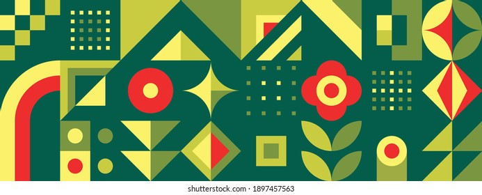 Abstract geometric background design. Graphic pattern in green color. Environmental ecology nature horizontal poster. Presentation layout. Summer garden vegetables. Vector illustration.