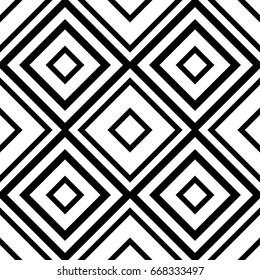 Abstract geometric background design. Vector seamless black and white pattern.
