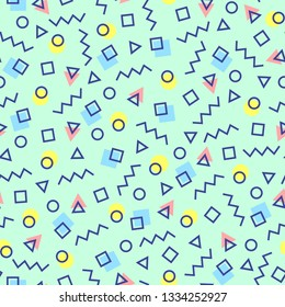 Abstract geometric background with different geometric shapes - triangles, circles, squares, lines. Memphis style. Bright and colorful, 90s style. Vector seamless tileable pattern.