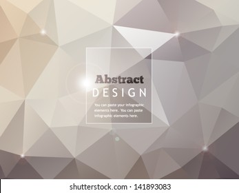 Abstract geometric background with glass banner and lights